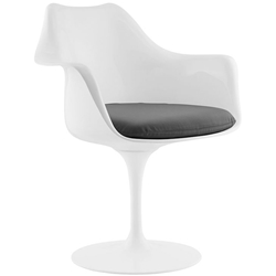 Odyssey Modern White + Gray Vinyl Arm Chair