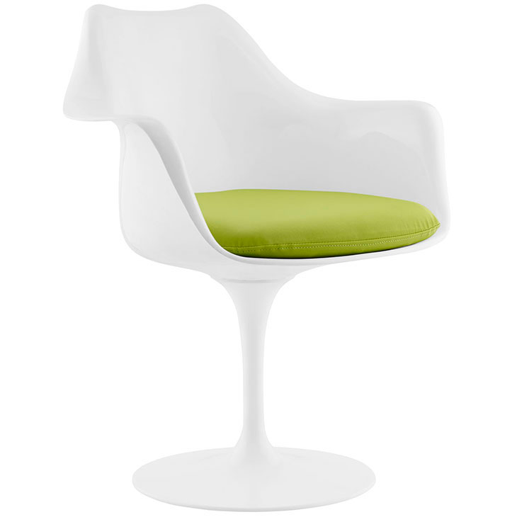Odyssey Modern White + Green Vinyl Arm Chair