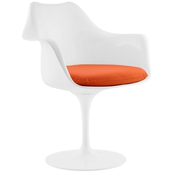 Odyssey Modern White + Orange Vinyl Arm Chair
