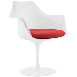 Odyssey Modern White + Red Vinyl Arm Chair