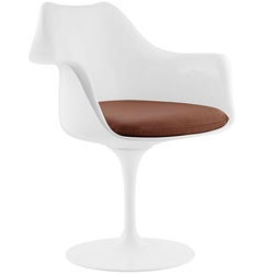 Odyssey Modern Arm Chair in White + Tan Vinyl