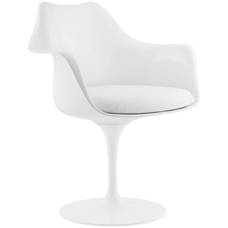 Odyssey Modern Arm Chair in White + White Vinyl