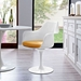 Odyssey White Modern Arm Chair - Yellow Cushion