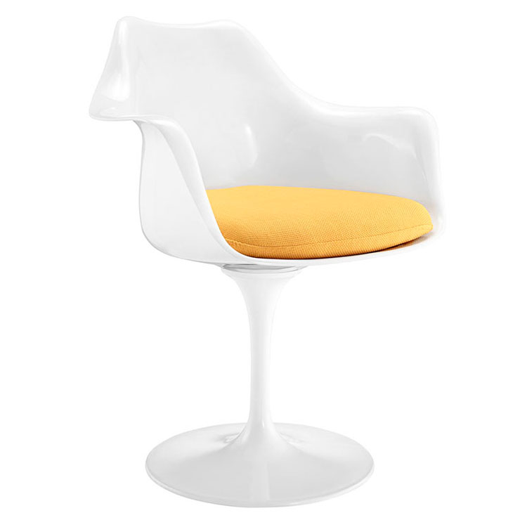 Odyssey Modern Classic Arm Chair - White + Yellow