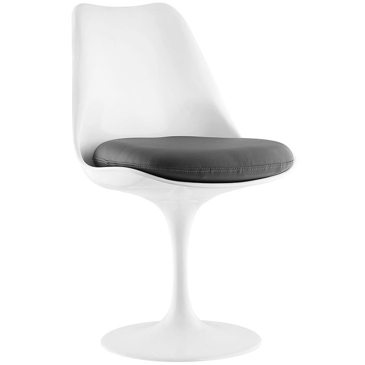 Odyssey Modern White + Gray Vinyl Side Chair