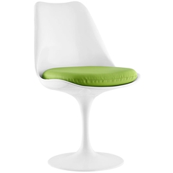 Odyssey Modern White + Green Vinyl Side Chair