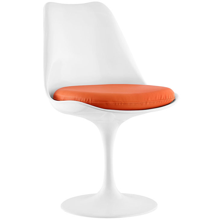 Odyssey Modern White + Orange Vinyl Side Chair