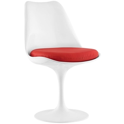 Odyssey Modern White + Red Vinyl Side Chair
