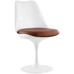 Odyssey Modern White + Tan Vinyl Side Chair