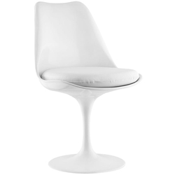 Odyssey Modern White Vinyl Seat Swivel Side Chair