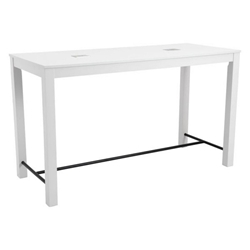 Olly White Wood + Black Metal Modern Bar Table with USB Ports