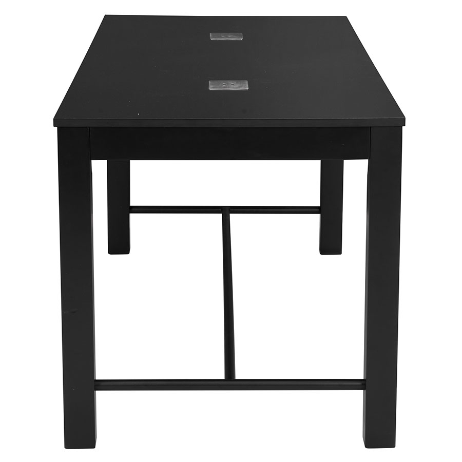 Modern black side table -  Olly Black Modern Dining Table With Usb Ports