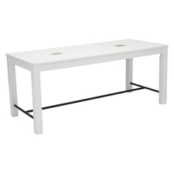 Olly White Wood + Black Metal Modern Dining Table with USB Ports