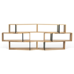 One Oak + Black Modern Shelf Sextuple Module - Set of 6 Shelves