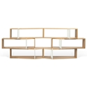 One Oak + White Modern Shelf Sextuple Module - Set of 6 Shelves
