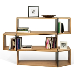 One Oak + Black Modern Shelf Triple Module - Set of Three Shelves by TemaHome