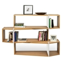 One Oak + White Modern Triple Shelf Module - Set of 3 Shelves