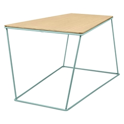 Opal Green Metal + Oak Wood Modern Coffee Table