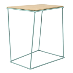 Opal Green Metal + Oak Wood Modern Side Table