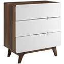 Oracle Modern Walnut + White 3-Drawer Chest