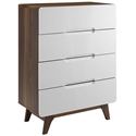 Oracle Modern Walnut + White 4-Drawer Chest
