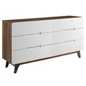 Oracle Modern Walnut + White Double Dresser