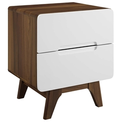 Oracle Modern Walnut + White Nightstand