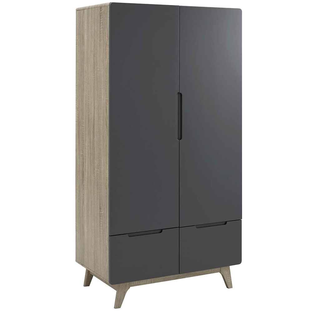 Oracle Modern Natural + Gray Wardrobe Cabinet