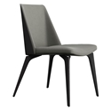 Modloft Black Orchard Dining Chair in Warm Gray Leather with Black Wood