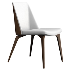 Modloft Black Orchard Modern Dining Chair in White Leather + Walnut