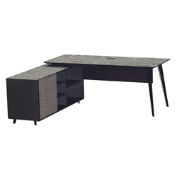 Orebro Modern Executive Desk w/ Left Cabinet