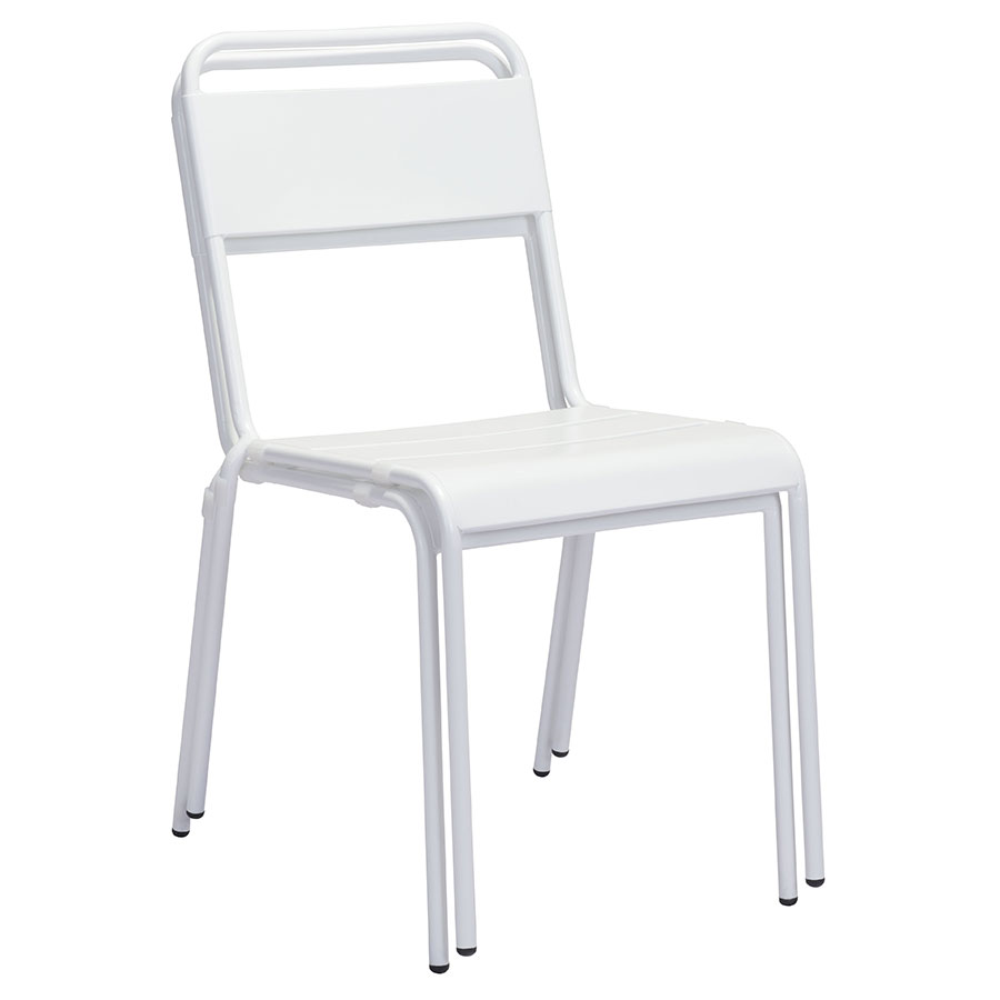 Orestes White Metal Contemporary Outdoor Dining Chair