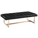 Orleans Black Eco-Leather + Gold Modern Bench