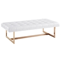 Orleans White Eco-Leather + Gold Modern Bench