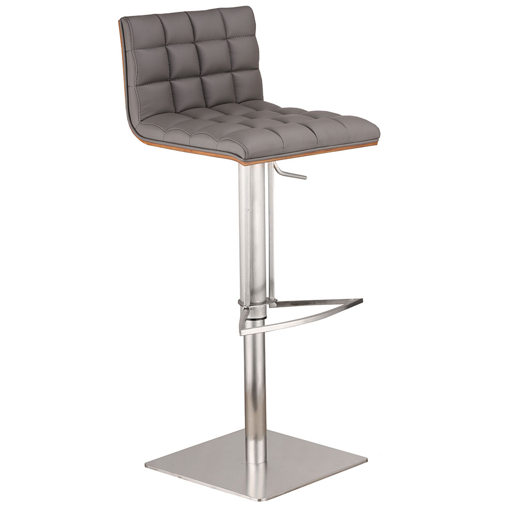 Orville Gray + Brushed Steel Modern Adjustable Stool