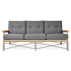 Gus* Modern Oskar Contemporary Sofa in Berkeley Metro Fabric Upholstery With Solid Wood Frame And Metal Accents