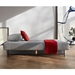 Osvald Contemporary Sofa Bed in Light Gray Fabric - Flat Position
