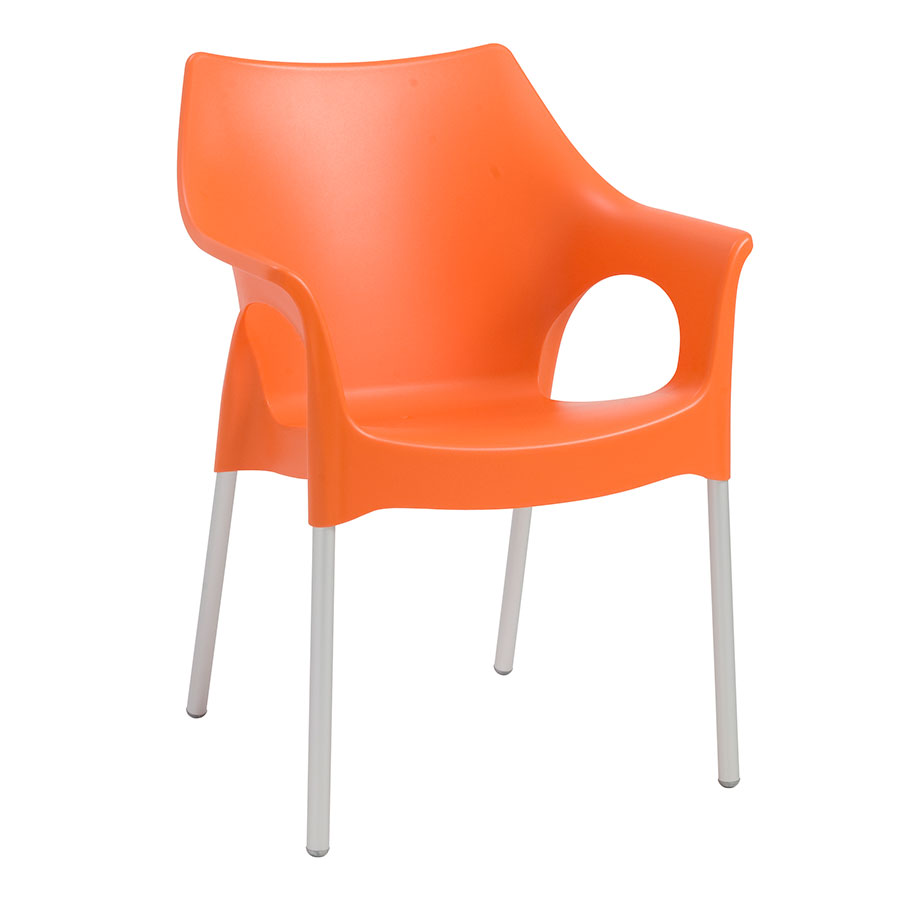 Owen orange modern arm chair eurway modern for Modern arm chair