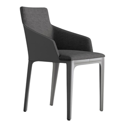 Modloft Black Oxford Dining Chair in Charcoal Denim Fabric with Gray Recycled Leather