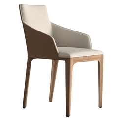 Modloft Black Oxford Dining Chair in Raw Linen and Tan Regenerated Leather