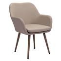 Painter Tan Sunproof Fabric Upholstery + Wood Tone Aluminum Modern Indoor + Outdoor Arm Chair