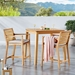 Palisades Contemporary Wooden 3pc Outdoor Counter Height Dining Set