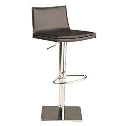 Palma Black Leather + Chromed Steel Modern Adjustable Height Bar + Counter Stool