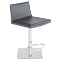Palma Dark Gray Leather + Chromed Steel Modern Adjustable Height Stool