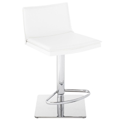 Palma White Leather + Chromed Steel Modern Adjustable Height Bar + Counter Stool