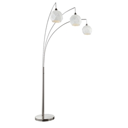 Panda Modern Brushed Nickel 3-Light Arc Floor Lamp