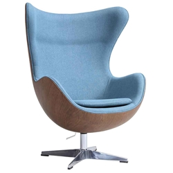 Paradigm Blue + Walnut Mid-Century Modern Lounge Chair