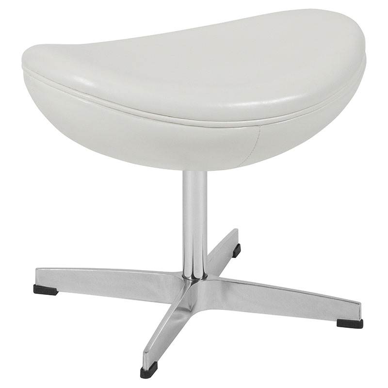 Paradigm Modern White LeatherSoft Ottoman