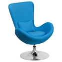Paradigm Shift Aqua Fabric + Chrome Swivel Base Contemporary Lounge Chair