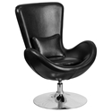Paradigm Shift Black Bonded Leather + Chrome Swivel Base Modern Lounge Chair